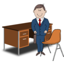 Teacher Manager Between Chair And Desk