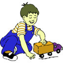 download Boy Playing With Toy Truck clipart image with 45 hue color