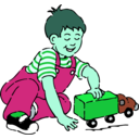 download Boy Playing With Toy Truck clipart image with 135 hue color