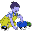 download Boy Playing With Toy Truck clipart image with 225 hue color