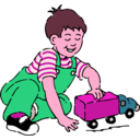 download Boy Playing With Toy Truck clipart image with 315 hue color