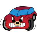 Comic Red Angry Car