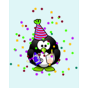 download Birthday Card With Penguin clipart image with 45 hue color