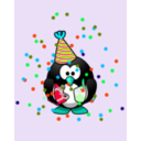 download Birthday Card With Penguin clipart image with 135 hue color