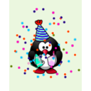 download Birthday Card With Penguin clipart image with 315 hue color