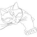 Sleepy Calico Cat Line Drawing Only