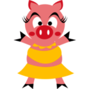 download Madame Pig clipart image with 45 hue color