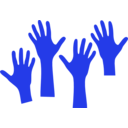 download Four Hands Reaching clipart image with 315 hue color