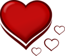 Red Stylised Heart With Smaller Hearts