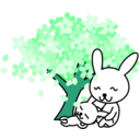 download Cherry Blossoms Rabbit clipart image with 135 hue color