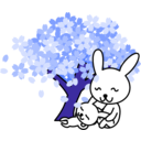 download Cherry Blossoms Rabbit clipart image with 225 hue color