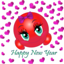 download Happy New Year Smiley Emoticon clipart image with 315 hue color