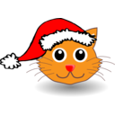 Funny Kitty Face With Santa Claus Hat