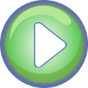 Play Button Green With Blue Border